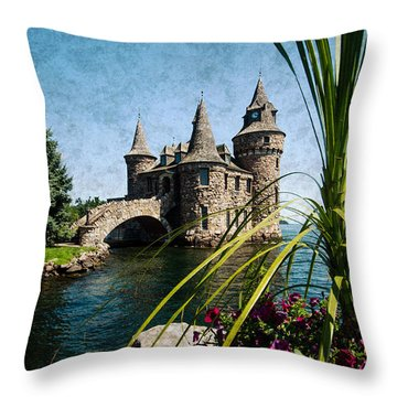 Boldt Castle Power House And Clock Tower Throw Pillow