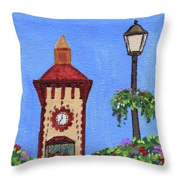 Clock Tower Impressionistic Landscape Xxxvii Throw Pillow