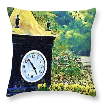 Throw Pillow featuring the photograph Clock Tower In The Garden by Donna Bentley