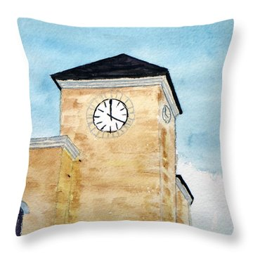 Clock Tower - Llano And Main Fredericksburg Texas Throw Pillow by R Kyllo