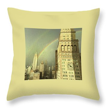 Clock Tower New York Throw Pillow