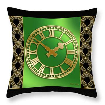 Throw Pillow featuring the digital art Clock With Border by Chuck Staley