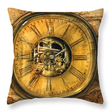 Clockmaker - Clock Works Throw Pillow by Mike Savad