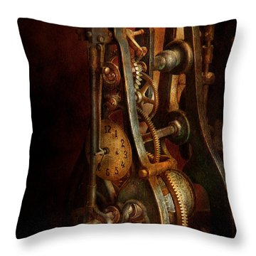 Clockmaker - Careful I Bite Throw Pillow by Mike Savad