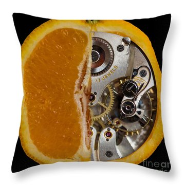 Throw Pillow featuring the photograph Clockwork Orange by Brian Roscorla