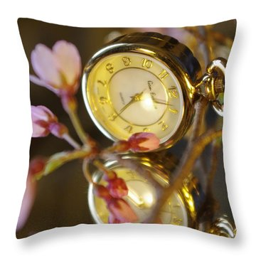 Clock - Flower Throw Pillow