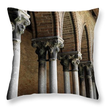 Throw Pillow featuring the photograph Cloister Detail, Couvent Des Jacobins by Elena Elisseeva