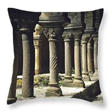 Cloister Of Lavaudieu. Haute Loire. Auvergne Throw Pillow by Bernard Jaubert