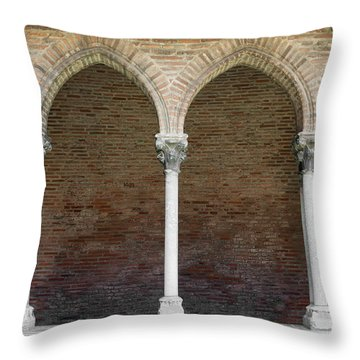 Throw Pillow featuring the photograph Cloister With Arched Colonnade by Elena Elisseeva