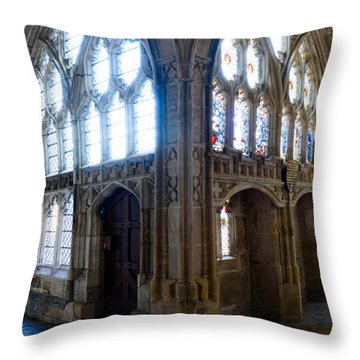 Throw Pillow featuring the photograph Cloisters, Gloucester Cathedral by Colin Rayner