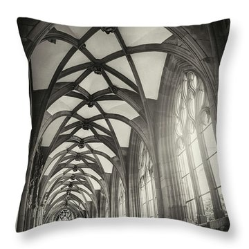 Cloisters Of Basel Munster Switzerland In Black And White  Throw Pillow