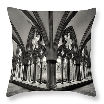 Cloisters Of Salisbury Cathedral England  Throw Pillow