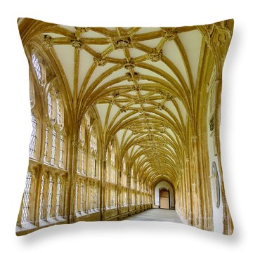 Cloisters, Wells Cathedral Throw Pillow