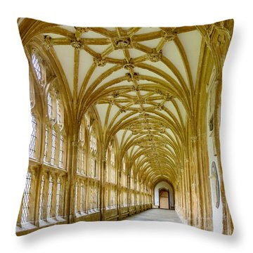 Throw Pillow featuring the photograph Cloisters, Wells Cathedral by Colin Rayner