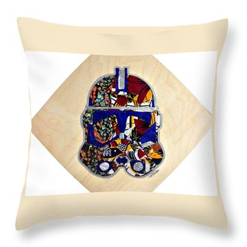 Throw Pillow featuring the tapestry - textile  Clone Trooper Star Wars Afrofuturist by Apanaki Temitayo M