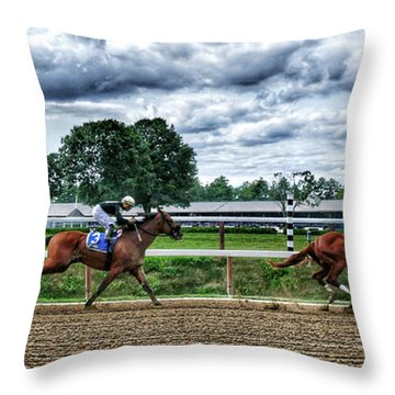 Close Competition Throw Pillow