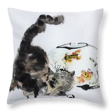 Close Encounter Throw Pillow by Laurie Samara-Schlageter