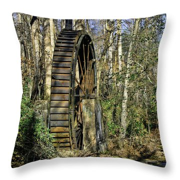 Closeup Of Iron Water Wheel Throw Pillow