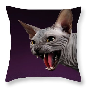 Throw Pillow featuring the photograph Close-up Aggressive Sphynx Cat Hisses On Purple by Sergey Taran