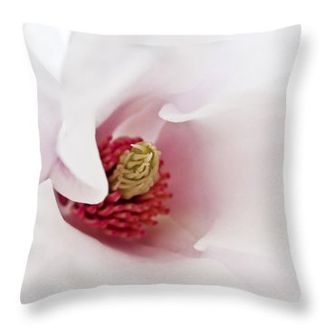 Abstract White Red Pink Flowers Macro Photography Art  Throw Pillow