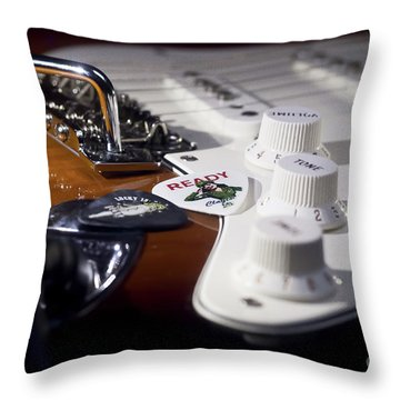 Throw Pillow featuring the photograph Close Up Guitar by MGL Meiklejohn Graphics Licensing