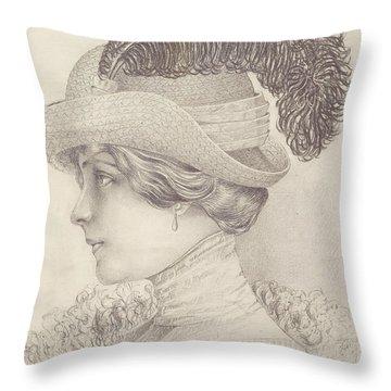 Close-up Of A Young Woman, Austria, 1910 Throw Pillow