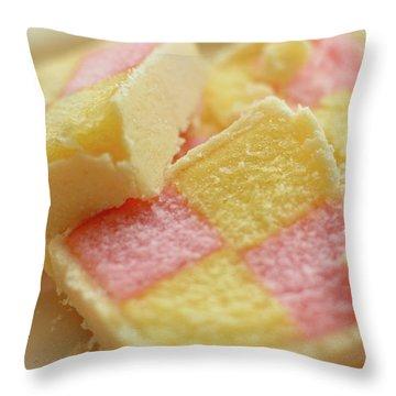 Close Up Of Battenberg Cake E Throw Pillow