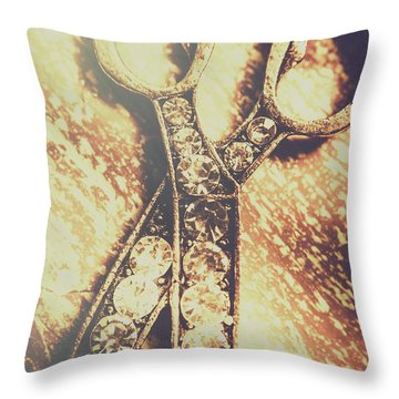 Close Up Of Jewellery Scissors Of Bronze Throw Pillow