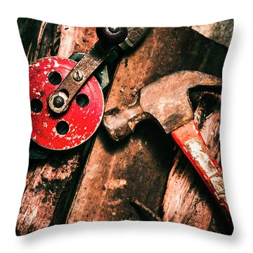 Close Up Of Old Tools Throw Pillow