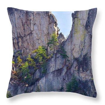 Close-up Of Seneca Rocks Top Edge Throw Pillow