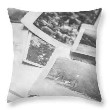 Close Up On Old Black And White Photographs Throw Pillow