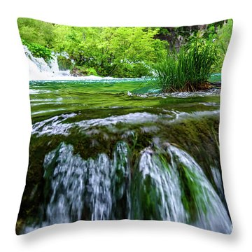 Close Up Waterfalls - Plitvice Lakes National Park, Croatia Throw Pillow