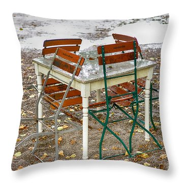 Throw Pillow featuring the photograph Closed For Today by Juergen Klust