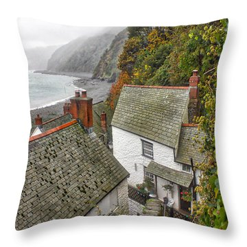 Clovelly Coastline Throw Pillow by RKAB Works