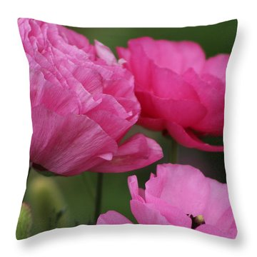Closeup Deep Peony Pink Ranunculus Throw Pillow