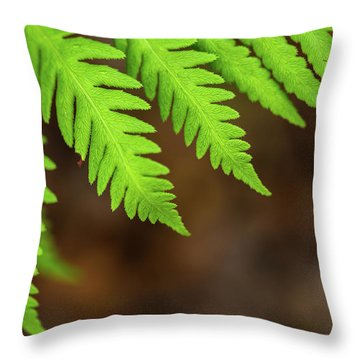 Throw Pillow featuring the photograph Closeup Macro Of Green Leaves Show Textured Of The Organs With S by Jingjits Photography