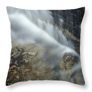 Closeup Maple Leaf And Decew Falls, St Throw Pillow by Darwin Wiggett