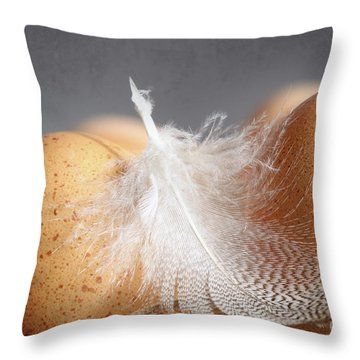 Closeup Of Brown Speckled Eggs  Throw Pillow by Sandra Cunningham