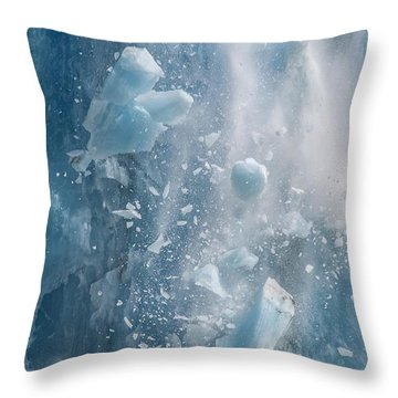 Closeup Of Dawes Glacier Calving Throw Pillow