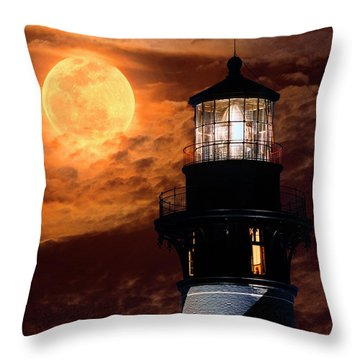 Closeup Of Full Moon Rising Over St Augustine Lighthouse Throw Pillow