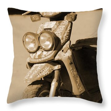 Closeup Of Jesus Scooter In Sepia Throw Pillow