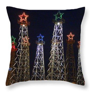 Closeup Of Kilgore Texas Derricks Throw Pillow by Kathy  White