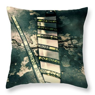 Closeup Of Knife Wrapped With Do Not Cross Tape On Floor Throw Pillow