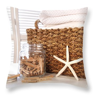 Closeup Of Laundry Basket With Fine Linens  Throw Pillow by Sandra Cunningham