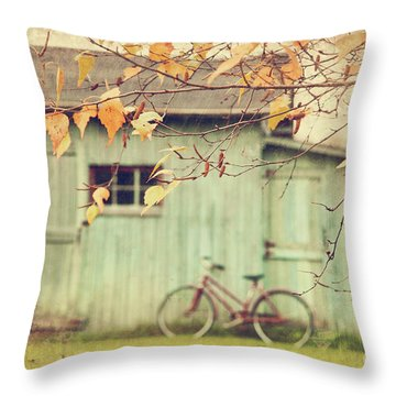 Closeup Of Leaves With Old Barn In Background Throw Pillow by Sandra Cunningham