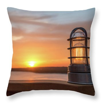 Closeup Of Light With Sunset In The Background Throw Pillow