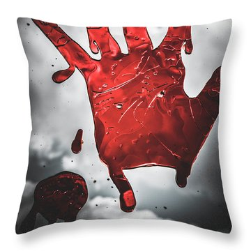 Closeup Of Scary Bloody Hand Print On Glass Throw Pillow