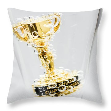Closeup Of Small Trophy In Champagne Flute. Gold Colored Award I Throw Pillow