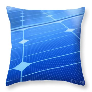 Closeup Of Solar Panels Throw Pillow by Yali Shi