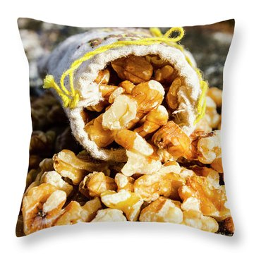 Closeup Of Walnuts Spilling From Small Bag Throw Pillow
